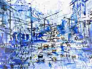 "Abstract Original Oil On Canvas ""Blue City"""