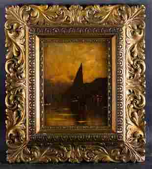 """Antique 19th Century Dutch Oil Painting """"Sail Boat In"""