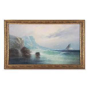 """Early 20th Century Traditional Pastel On Paper """"Ship At"""