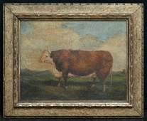 "Antique American Folk Art Original Oil ""Portrait Of"