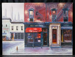 "Vintage New York Citiscape Original Oil ""Cafe In SoHo"""