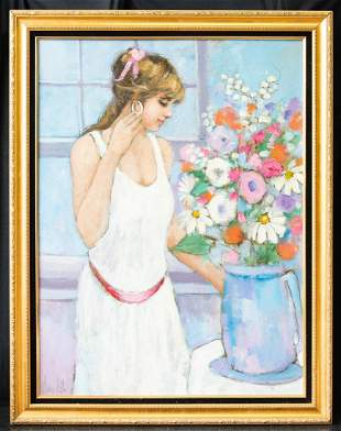 """Large Modernist Original Oil Painting """"Girl With"""