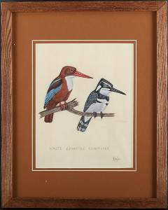 """Original Oil On Canvas """"White Breasted Kingfisher"""""""