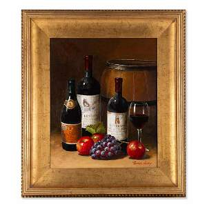 """Thomas Sharp Still Life Oil Painting """"Wines And Fruits"""""""