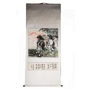 "Asia Original Watercolor On Paper ""A Pair Of Horses"""