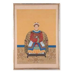 """Antique Chinese Watercolor """"Portrait Of Concubine"""""""