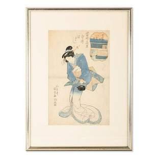 Antique Kunisada Japanese Hand Colored Ukiyo-e
