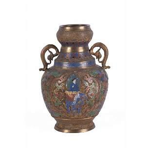 Antique 19th Century Cloissone Bronze Pot
