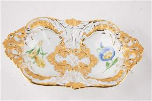 German Meissen Gold Gilt Porcelain Plate