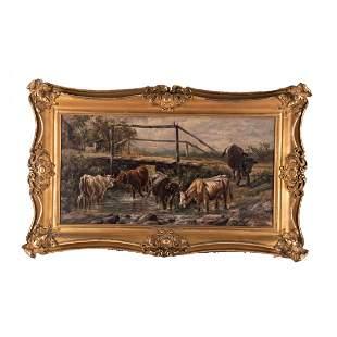 """Large Antique Original Oil Painting """"Friendly"""
