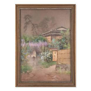 """Early 20th Century Japanese Watercolor """"Village In"""