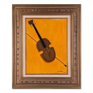 "Vintage Modernist Original Oil Painting ""Violin And"