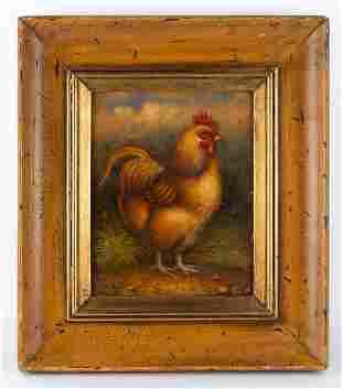 """Trevor James Oil On Canvas """"Golden Rooster"""""""