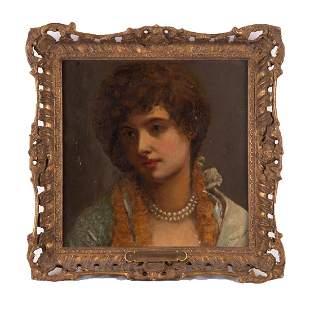 "Antique Dutch School Original Oil ""Portrait Of Girl"""