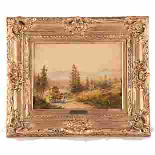 """Small Early 20th Century M Heichele Oil """"Country Path"""""""