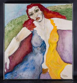 "Large Fauvist/Modernist Original Oil Painting ""Female"