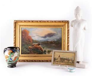 """Antique 19th Century Oil On Canvas """"Buffalos Near"""
