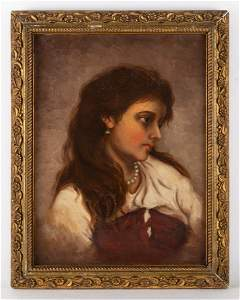 Eugene Anatole Carriere (1849 - 1906)Girl portrait