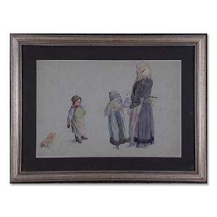 "William Pirson Artist Watercolor ""Mother And Children"""