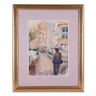 "Russian Artist Vladimir Zakharov Watercolor ""City"