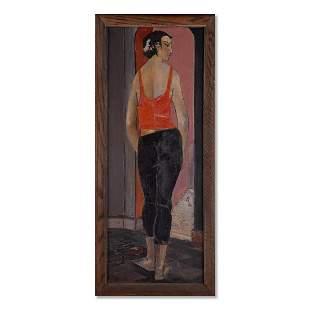 """Large Modernist Original Oil """"Portrait Of Girl"""" Signed"""