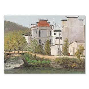 "Architecture Original Oil On Canvas ""Landscape"""
