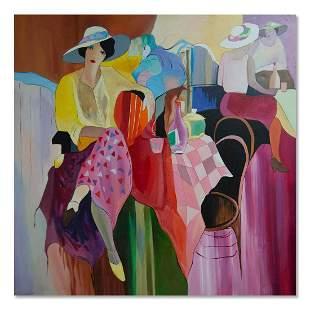 "Large After Itzchak Tarkay Large Oil Painting ""Ladies"