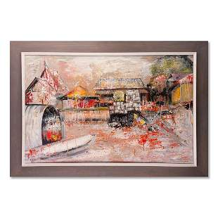 """Large Expressionist Oil Painting """"House Landscape"""""""
