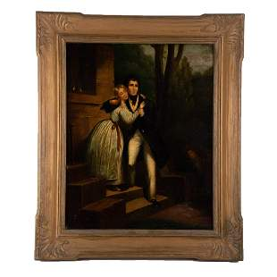 """Early 20th Century American Folk Art Oil """"Lady And"""