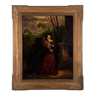 "Early 20th Century American Folk Art Oil ""Couple"