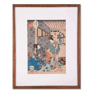 "Kunisada Japanese Ukiyo-e Print ""Geisha"""