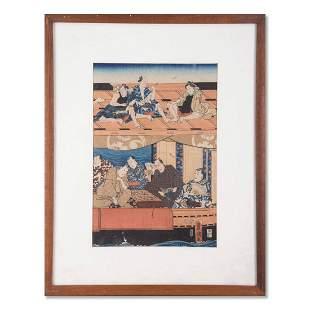 "Kunisada Japanese Ukiyo-e Print ""Playing Go"""