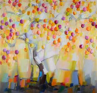 """Large Abstract Modernist Original Oil """"Cherry Tree"""""""