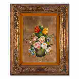 """Vintage Traditional Oil On Canvas """"Flowers In Vase"""""""