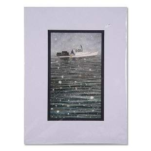"John A Morrow Watercolor ""Upon The Sea"" Signed"