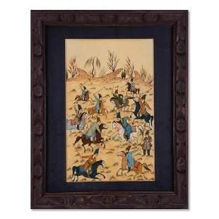 "Middle Eastern Hand Painted On Porcelain ""Men At War"""