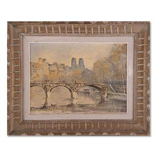 """French Artist M. Janpol Oil On Canvas """"View Of Paris"""""""