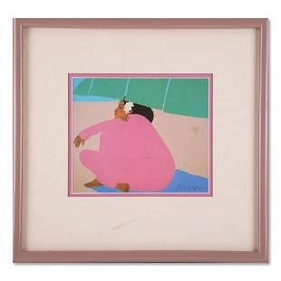 "Small Vintage Black Art Print Signed ""Sitting Woman"""