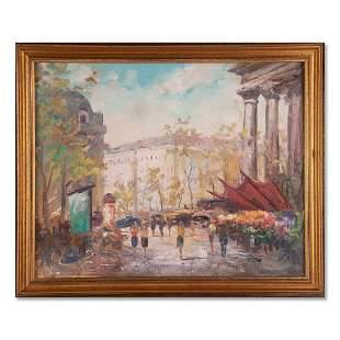 "Vintage Impressionist Oil Painting ""Flower Market In"