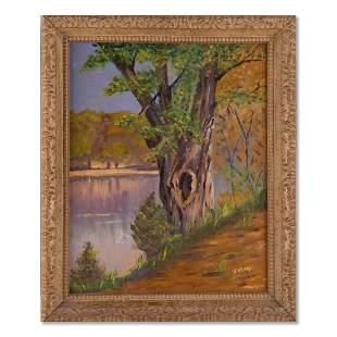"""Vintage Impressionist Oil Painting """"Tree Near Stream"""""""