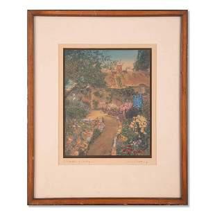 """Vintage Impressionist Mixed Media """"Garden Of Larkspur"""""""