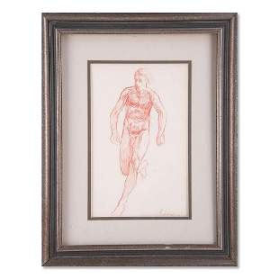 """Vintage Abstract Red Ink On Paper """"Running Man"""""""