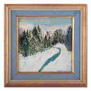 "Small Vintage Impressionist Oil ""Winter Scene"" Signed"
