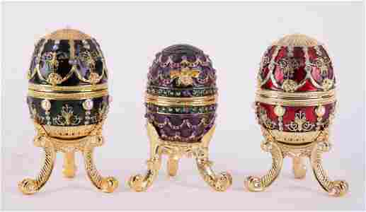 Set of 3 Musical Box Faberge Eggs.