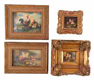 """Set Of 4 Antique Traditional OIl On Board """"Roosters And"""
