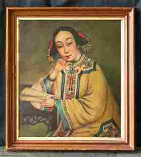 "Antique China Export Original Oil ""Portrait Of Woman"""