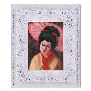 "Vintage Post-Impressionist Oil ""Portrait Of Japanese"