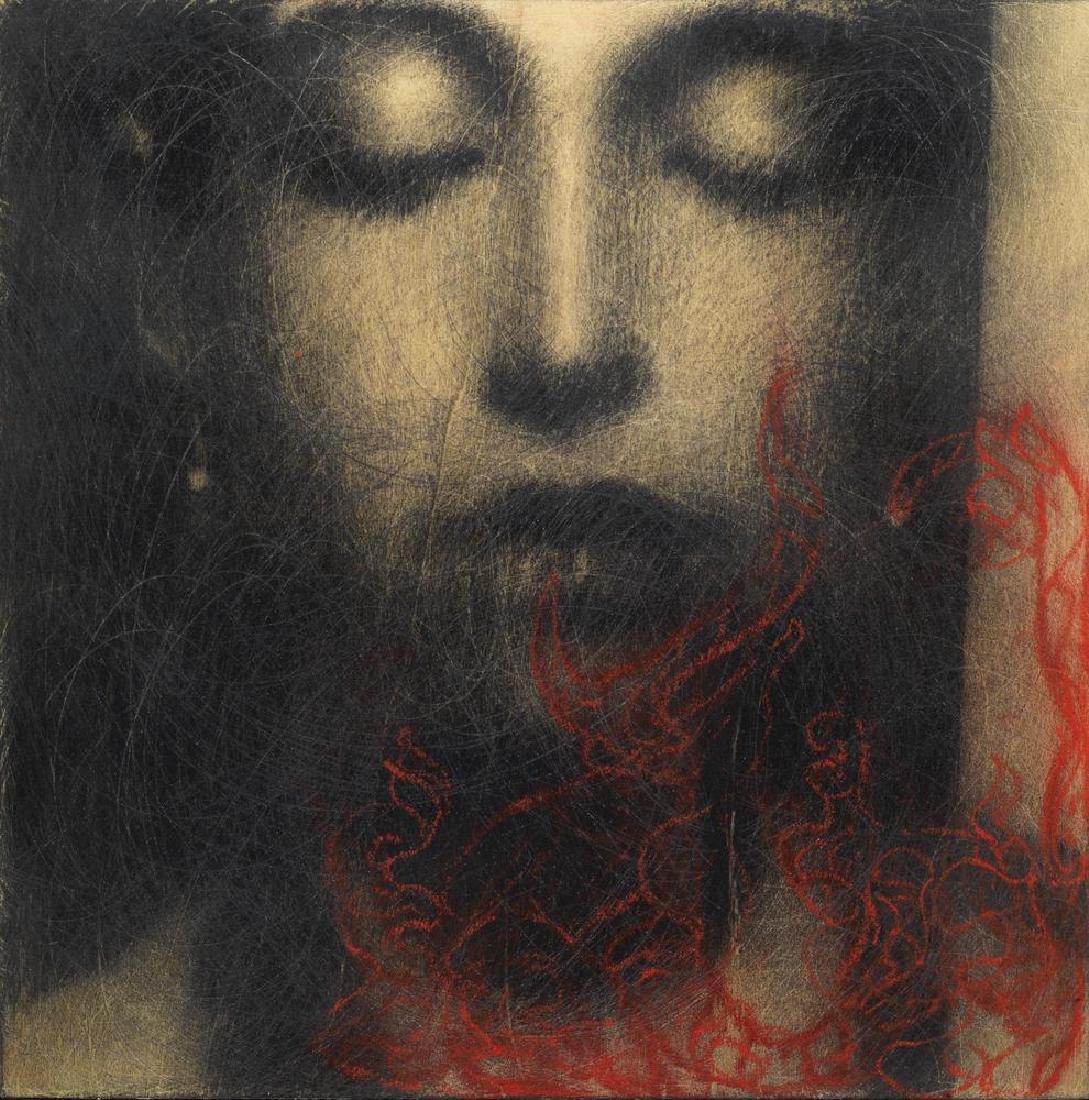 Omar Galliani  NUOVI FIORI grafite e pigmento su