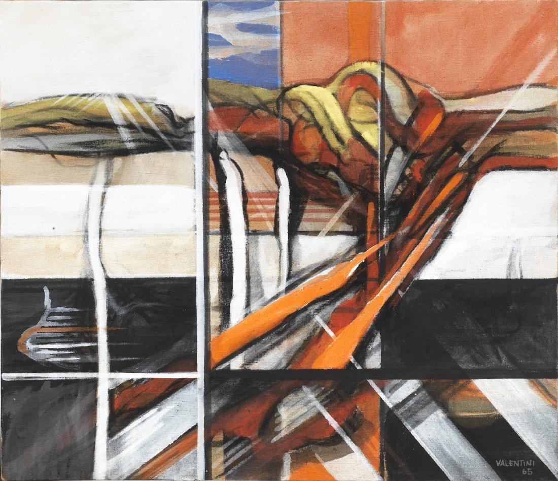 Walter Valentini COMPOSIZIONE olio su tela, cm 60x70