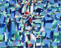 Piero Dorazio CACCIA AL DESTINO olio su tela, cm 55x70